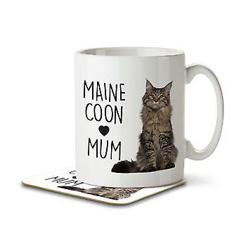 Maine Coon Mum - Becher und Untersetzer