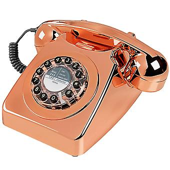 Wild & Wolf 746 Retro Push Button Brushed Copper Telephone