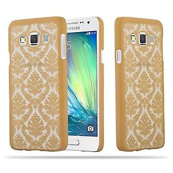 Samsung Galaxy A3 2015 Custodia rigida in GOLD di Cadorabo - Flowers Paisley Henna Design Protective Case – Phone Case Bumper Back Case Cover