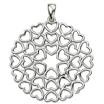 Principios corazón grande Multi disco lámpara colgante - Plata