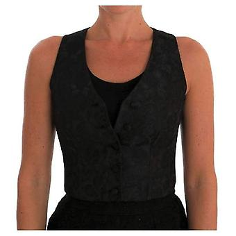 Dolce & Gabbana Black Silk Floral Brocade Vest -- TSH1738992