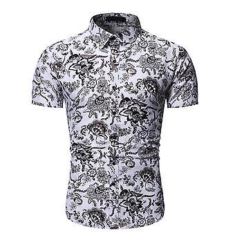 Allthemen Men's spetsiga krage kort ärm blommig skjorta