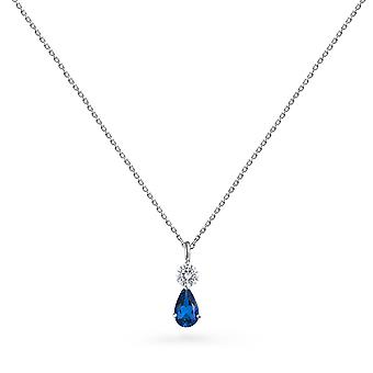 Necklace Java Precious Stone 18K Gold and Diamonds - White Gold, Sapphire