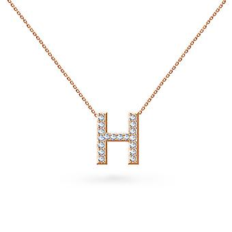Baby Necklace Alphabet 18K Gold and Diamonds - Rose Gold, H
