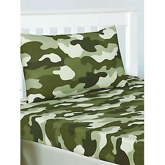 Army Camouflage Double Fitted Sheet and Pillowcase Set