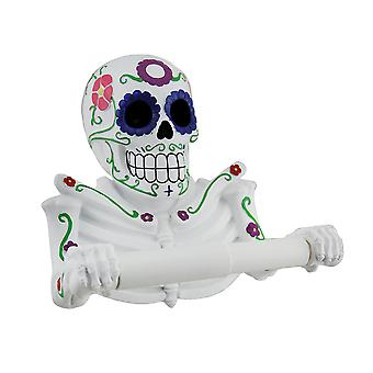 Smelly Skelly White Day of the Dead Sugar Skull Toilet Tissue Holder