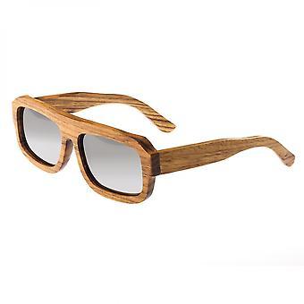 Earth Wood Daytona Polarized Sunglasses - Zebrawood/Silver