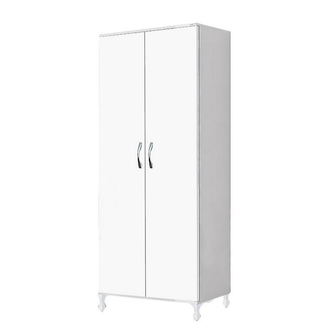 Garde-robe de couleur blanche kumsal, poignée en métal et pieds en plastique 80x47x177 cm