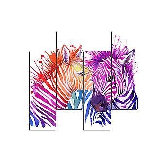 Zebra 561 Veelkleurig schilderij in MDF, L19xP0.3xA50 cm (4 stuks)