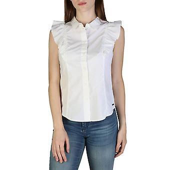 Woman cotton sleeveless shirt round t-shirt top ae00215