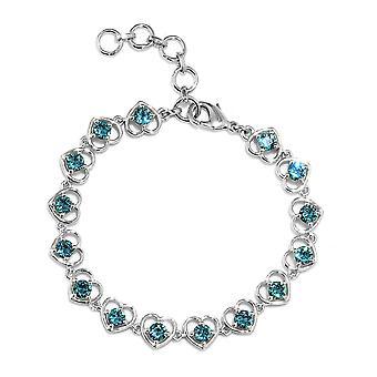 J Francis Crystal van Swarovski Indicolite Crystal Bracelet in Platinum Over