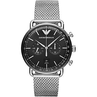 Armani Watches Ar11104 Silver & Black Stainless Steel Mesh Chronograph Men's Watch