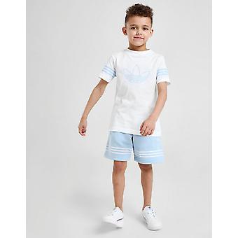 New Adidas Originals Boys' Spirit Outline T-Shirt/Shorts Set Blue