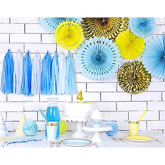 3 Yellow Assorted Size Hanging Tissue Paper Paper Fan Decorations
