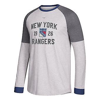 أداس أداس NHL نيويورك رينجرز طويل الأكمام طاقم تي