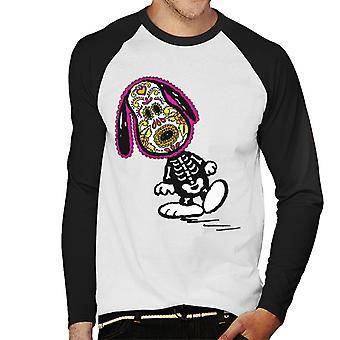 Peanuts Cinco De Mayo Skeleton Snoopy Men's Baseball Long Sleeved T-Shirt