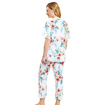 Rösch 1203106-10123 Women's New Romance White Hibiskus Floral Pyjama Set