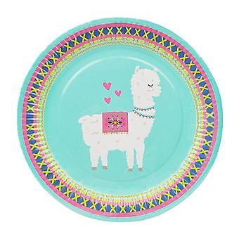 16PCS Disposable Plate Alpaca Party Tableware Decor Green
