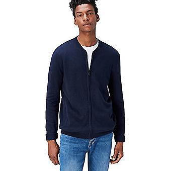 Vinden. Heren's Cotton Cardigan Sweater in Bomber Jacket Style, Blue (Navy), Medium