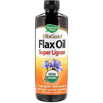 Nature's Way, Organic, EfaGold, Flax Oil, Super Lignan, 24 fl oz (705 ml)