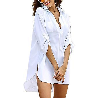 Knee-length V-neck blouse, sw S - White