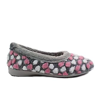 Lunar Hail Grey Textile Womens Full Shoe Slippers