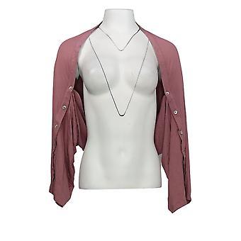 LOGO by Lori Goldstein Women's Sweater Shrug w/ Button Sleeve Pink A347659