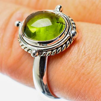 Peridot Ring Size 8 (925 Sterling Silver)  - Handmade Boho Vintage Jewelry RING25741