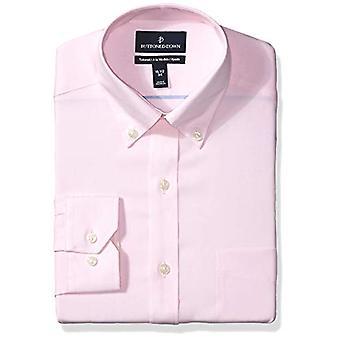 BUTTONED أسفل الرجال & ق مصممة تناسب زر ذوي الياقات البيضاء الصلبة غير الحديد اللباس قميص, لي ...
