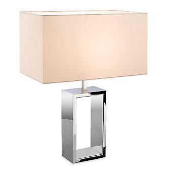 1 Lichte tafellamp gepolijst roestvrijstalen crème schaduw, E27