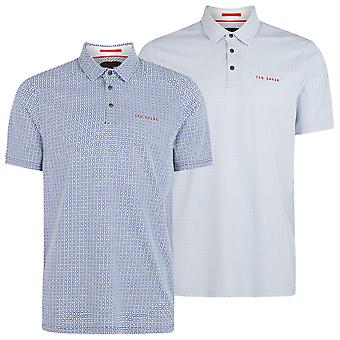 Ted Baker Mens 2020 Capp Mid Geo Printed Stretch Pop Stud Golf Polo Shirt