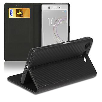 Carbon Fiber Case for Sony Xperia XZ1 Compact Wallet Leatherette Card Compartment Black