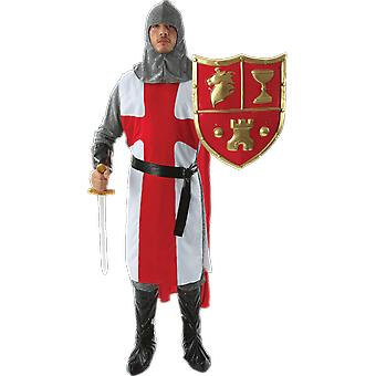 Mens middeleeuwse Engels Knight Crusader in Armour fancy dress kostuum