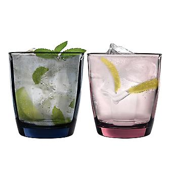 Bormioli Rocco Pulsar Coloured Faceted Glass Drinking Tumblers - 300ml - Set of 6