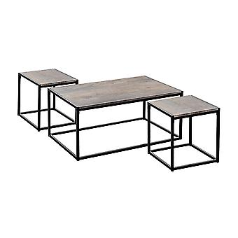 Industrial Coffee Table & Side Tables - Light Wood / Steel Frame - Set of 3