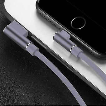 Nohon iPhone Lightning Charging Cable 90 ° - 2 Meter - Braided Nylon Charger Data Cable Android Gray