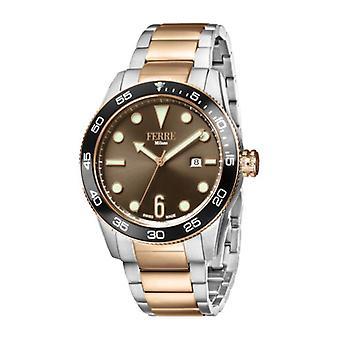 Ferre Milano Men's FM1G109M0071 Brown Dial Two-Tone IP Steel Date Wristwatch