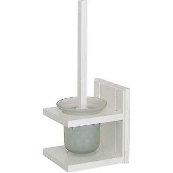 Croydex Toilet Brush and Holder White Pine Wood Holder and Frosted Glass Pot