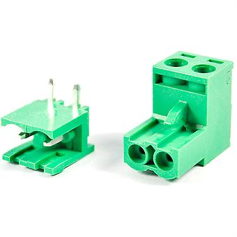 2 Pin Male Right Angle 5.08mm Female Screw Pair Set