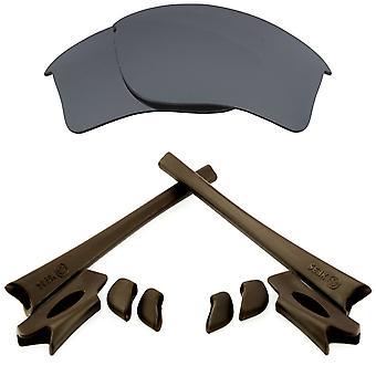 Replacement Lenses & Kit for Oakley Flak Jacket XLJ Black Iridium & Brown Anti-Scratch Anti-Glare UV400 by SeekOptics