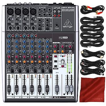 Behringer xenyx q1204usb 12-input usb audio mixer with accessory bundle