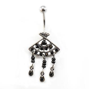 Belly button ring with filigree fan dangle design and cubic zirconia gems 14g