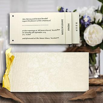 10 Blank Ivory (Off White) Broderie Cheque Book Wedding Invitations