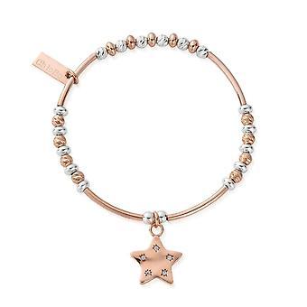 ChloBo MBSBNH4023 Women's Two Tone Sparkle Star Bracelet