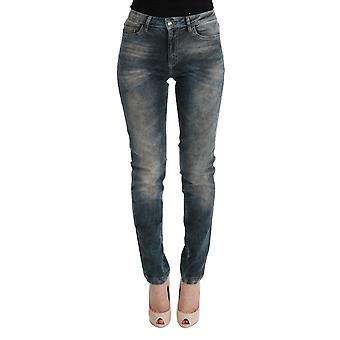 Cavalli Cavalli Blue Wash Cotton Blend Mid-Waist  Slim Fit Jeans