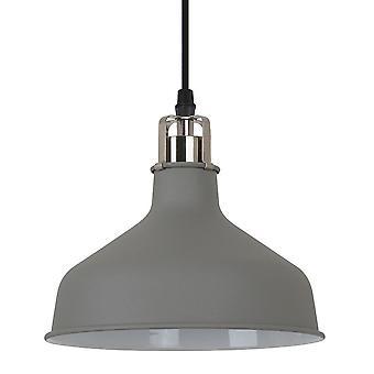 Italux Hooper - Industriale e Retro Hanging Pendant Grigio Satin Nickel 1 Light con Tonalità Grigia, E27