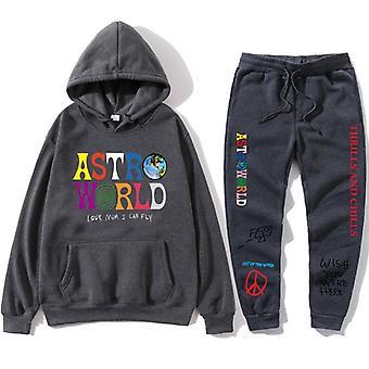Hoodies Letters Streetwear + Broek, Heren's Pullover Sweatshirt