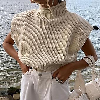 Pulover tricotat cu guler, pulover fără mâneci pentru femei, toamnă, iarnă,