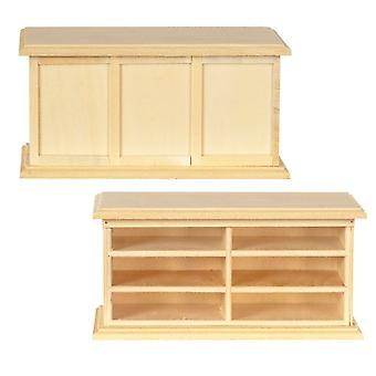 Dolls House Store Counter Shop Fitting Unfinished Bare Wood Miniature Furniture