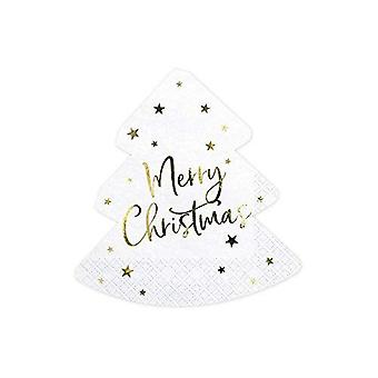 Merry Christmas Christmas White Paper Party Tree Shaped Napkins x 20